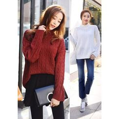 DEEPNY - Mock-Neck Cable-Knit Sweater