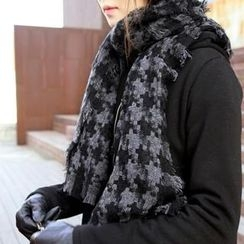 Jcstyle - Fringed Patterned Long Scarf
