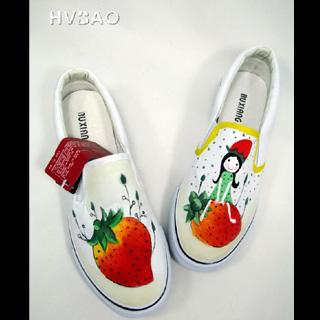 "HVBAO - ""Strawberry Fairy"" Canvas Slip-Ons"