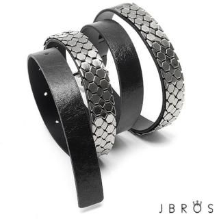 JBROS - Metallic Scale Faux Leather Belt