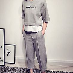 Century Girl - Set: Lettering Panel Pullover + Cropped Pants