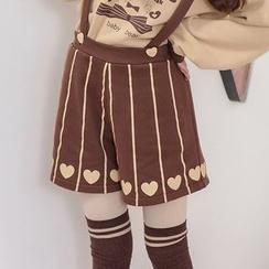 Moriville - Heart Print Striped Suspender Shorts