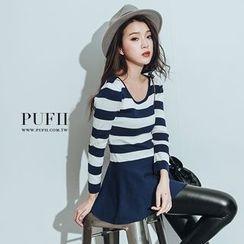 PUFII - 針織條紋配色傘擺洋裝連身裙