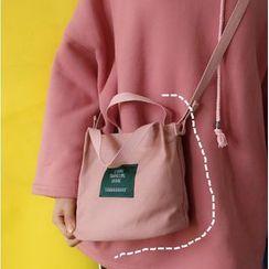 Bolso - Applique Canvas Shoulder Bag