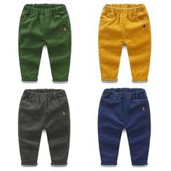 Seashells Kids - Kids Soldier Embroidered Band Waist Pants