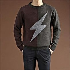 THE COVER - Lightning Print Color-Block Sweater