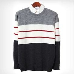 Seoul Homme - Round-Neck Color-Block Sweater