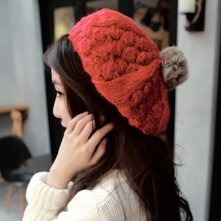 Cuteberry - Pompom-Accent Knit Beret