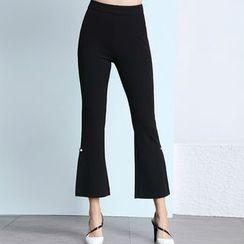 Sentubila - Faux Pearl Embellished Boot Cut Pants