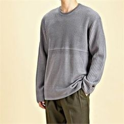 THE COVER - Crew-Neck Rib-Knit Sweater