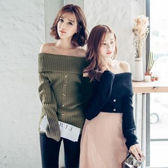 Tokyo Fashion - Off-Shoulder Buttoned Knit Top