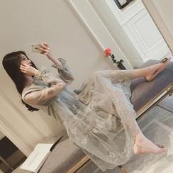 QZ Lady - Organza Long-Sleeve Midi Dress