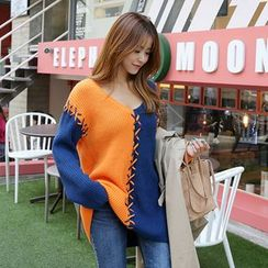DABAGIRL - Lace-UP Trim Color-Block Knit Top