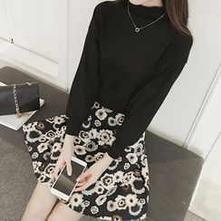 Eva Fashion - Set: Mock Neck Knit Pullover + A-Line Skirt