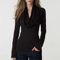Rebecca - Long-Sleeve Draped Top