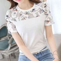 Lovebirds - Short-Sleeve Panel Top