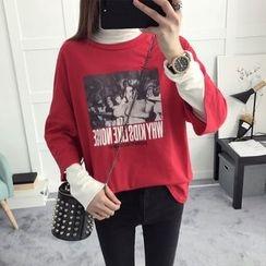 efolin - Printed 3/4 Sleeve T-Shirt
