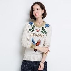 Romantica - Long-Sleeve Embroidered Knit Top