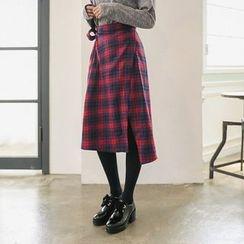 Seoul Fashion - Plaid Wool Blend Midi Wrap Skirt
