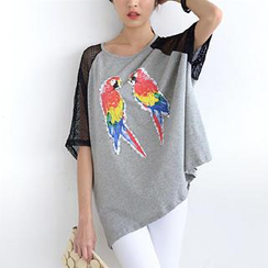 SO Central - Mesh Sleeve Parrot Print Oversized Top