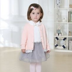 KUBEBI - Kids Set: Knit Cardigan + Collared Tulle Dress