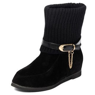 yeswalker - Knit Panel Belted Short Boots