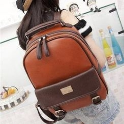M.R. - Contrast-Color Faux-Leather Backpack
