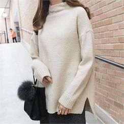 PIPPIN - Mock-Neck Drop-Shoulder Knit Top