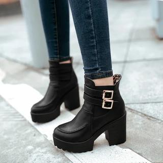 Pastel Pairs - Block Heel Buckled Ankle Boots