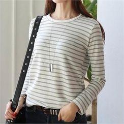 CHICFOX - Stripe Fleece-Lined T-Shirt