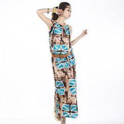 Hotprint - Set: Print Sleeveless Top + Maxi Skirt
