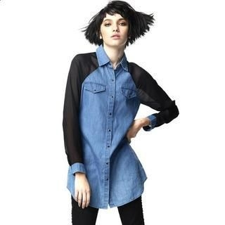 UDOT - Chiffon Sleeve Denim Shirt