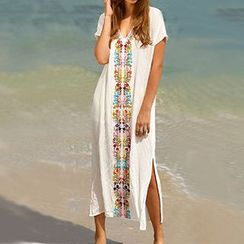 Sunset Hours - Embroidered V-Neck Cover-Up