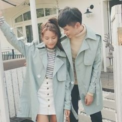 FULLHOPE - Couple Matching Lettering Trench Coat