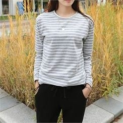 CHICFOX - Round-Neck Striped T-Shirt