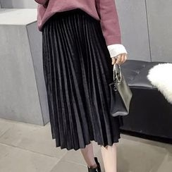 Honeydew - Pleated Midi Velvet Skirt