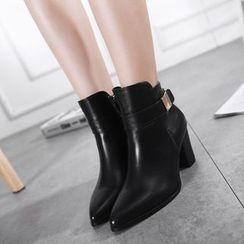 Monde - Buckled Block Heel Ankle Boots