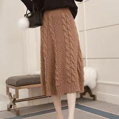 氣質淑女 - 麻花針織中長裙