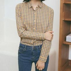 SUYISODA - Gingham Long-Sleeve Shirt