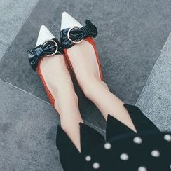 JY Shoes - Knotted Pointy Toe Genuine Leather Flats