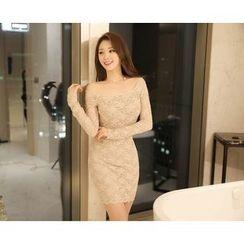 Marlangrouge - Off-Shoulder Lace Sheath Dress