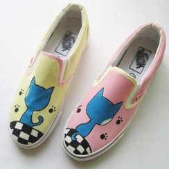 HVBAO - Cat Print Canvas Slip-Ons