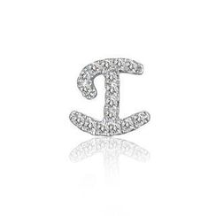 MBLife.com - Left Right Accessory - 9K White Gold Initial 'I' Pave Diamond Single Stud Earring (0.04cttw)