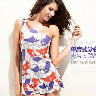 Moonbasa - One-Shouldered Patterned Swimsuit