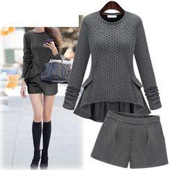 Coronini - Set: Knit Frilled Top + Shorts