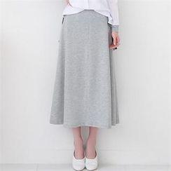 GLAM12 - Band-Waist Long Skirt