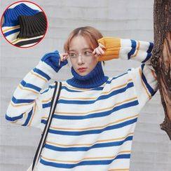 Clair Fashion - 韩版学院宽松中长款撞色高领套头毛衣