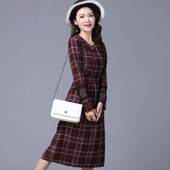 Piano Princess - Lace Trim Plaid Long Sleeve Midi Dress