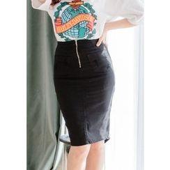 REDOPIN - Zip-Detail Slit-Front Skirt
