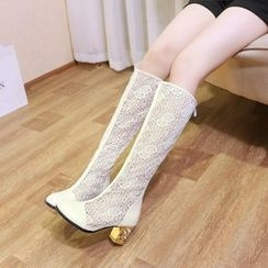 Shoes Galore - Chunky Heel Lace Tall Boots
